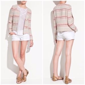 Zara | Striped Tweed Moto Jacket